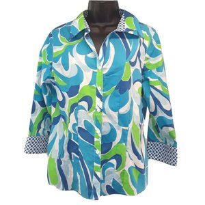 Foxcroft Blue Green Swirl Shirt Womens 8 Fitted